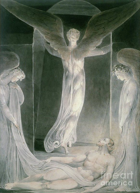 The Resurrection: The Angels Rolling Away The Stone From The Sepulchre By William Blake (1757-1827) Art Print featuring the drawing The Resurrection by William Blake