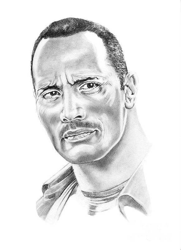 Pencil Art Print featuring the drawing The Roc  Dwain Johnson by Murphy Elliott