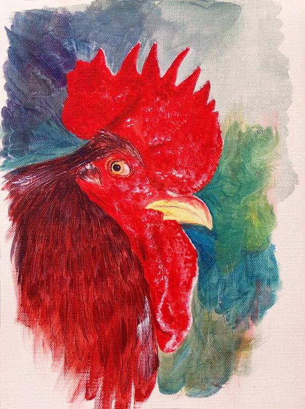 Rooster Art Print featuring the painting The Rooster Rules by Sylvia Stone