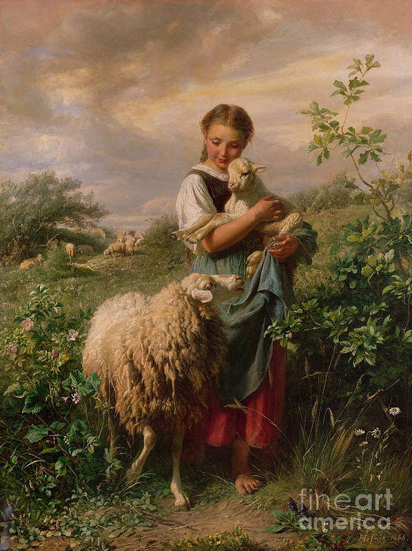 Shepherdess Art Print featuring the painting The Shepherdess by Johann Baptist Hofner