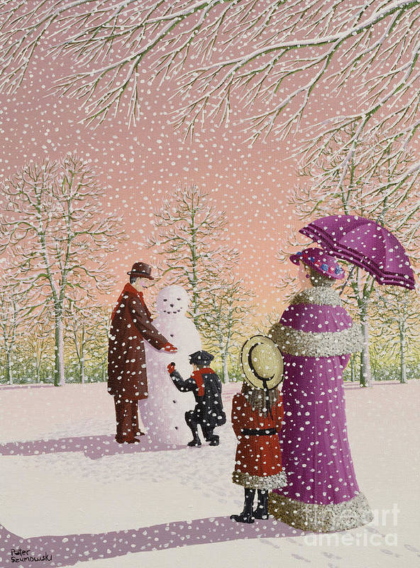 Snowman; Snow; Snowing; Winter; Cold; Woman; Umbrella; Parasol; Child; Children; Man; Playing; Outside; Landscape; Tree Art Print featuring the painting The Snowman by Peter Szumowski