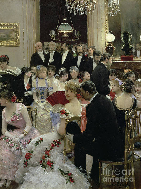 The Art Print featuring the painting The Soiree by Jean Beraud