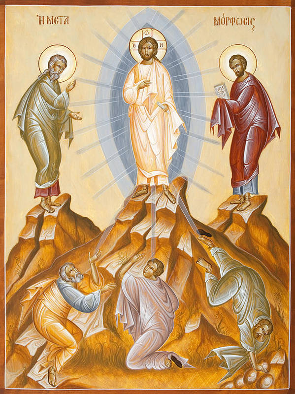 Transfiguration Print featuring the painting The Transfiguration Of Christ by Julia Bridget Hayes