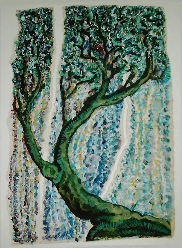Tree Art Print featuring the painting The Tree Energy by Helene Champaloux-Saraswati