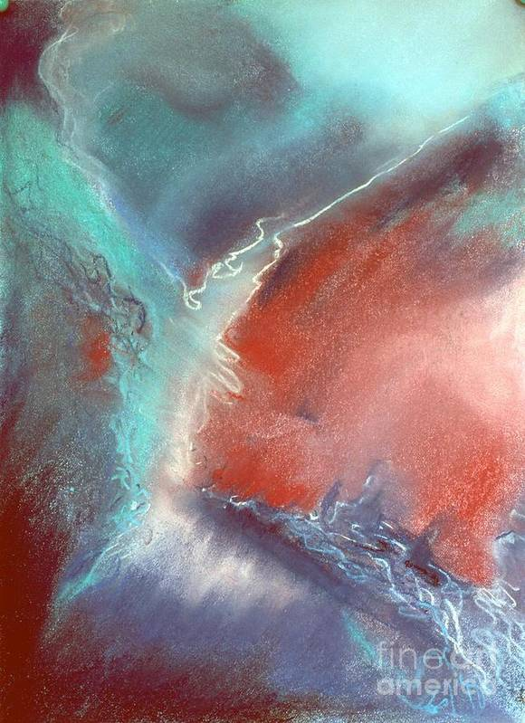 Abstract Art Print featuring the pastel The Trouble Between You And I by Shirley McMahon