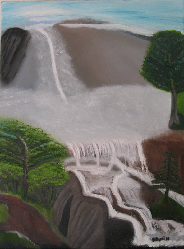 Water Art Print featuring the painting The Waterfall by Edwin Long