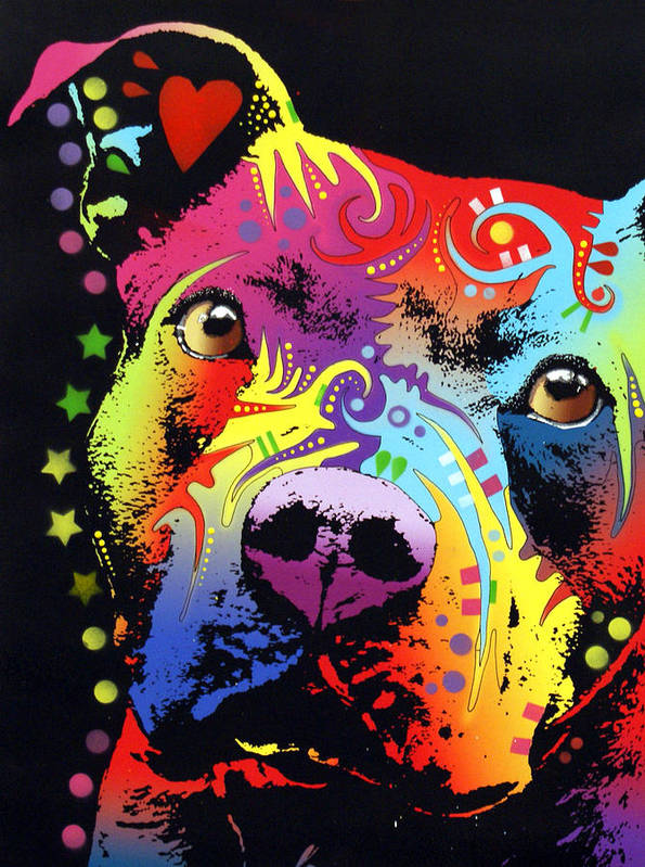Pitbull Print featuring the painting Thoughtful Pitbull Warrior Heart by Dean Russo