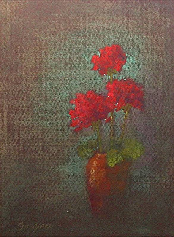 Red Art Print featuring the pastel Three Geraniums by Tom Forgione
