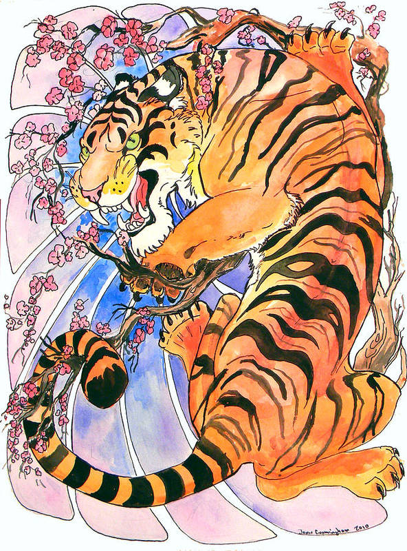 Tiger Art Print featuring the painting Tiger In Cherries by Jenn Cunningham
