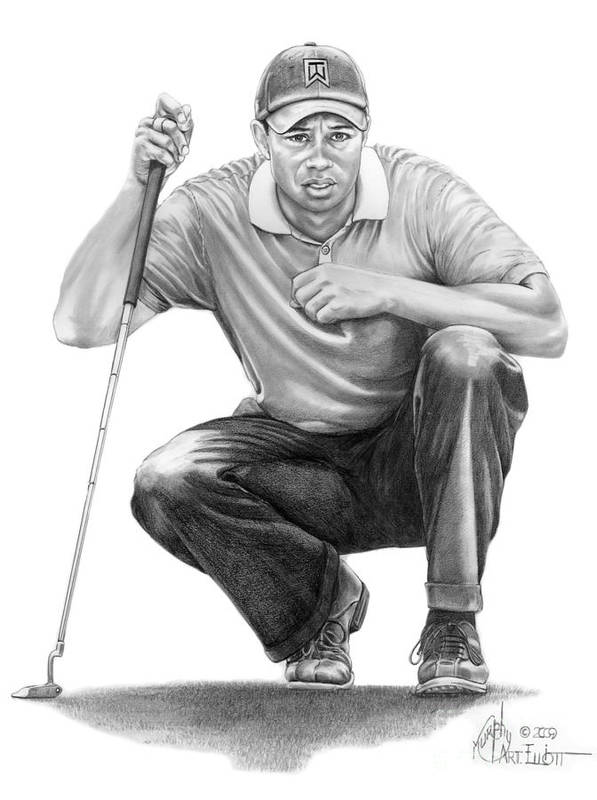 Pencil Art Print featuring the drawing Tiger Woods Crouching Tiger by Murphy Elliott