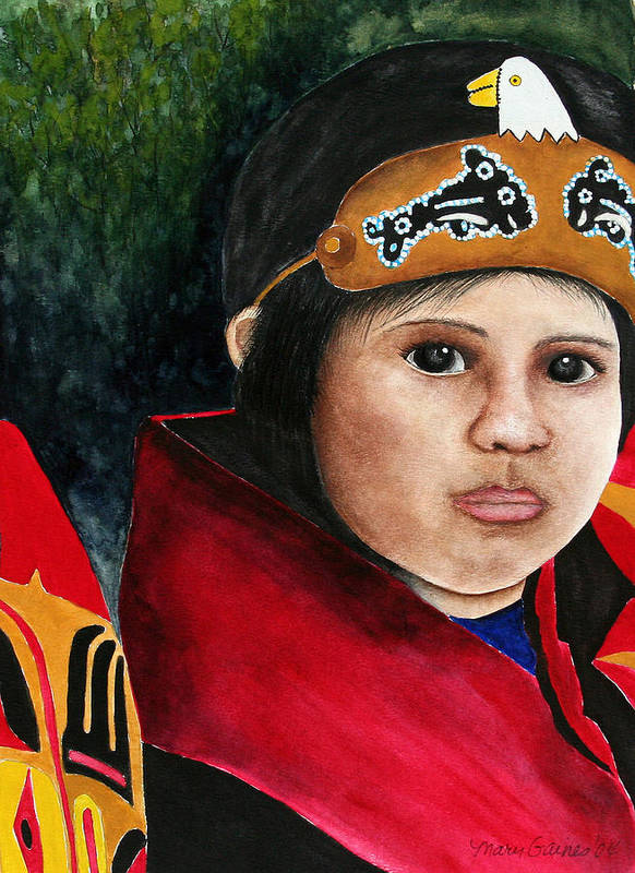 Native Art Print featuring the painting Tinglit Native Girl by Mary Gaines