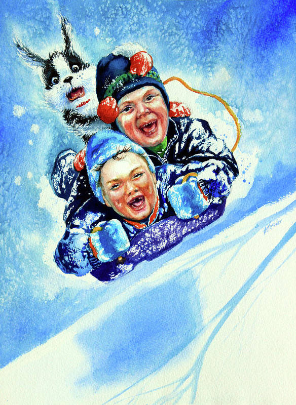 Children Playing Art Print featuring the painting Toboggan Terrors by Hanne Lore Koehler