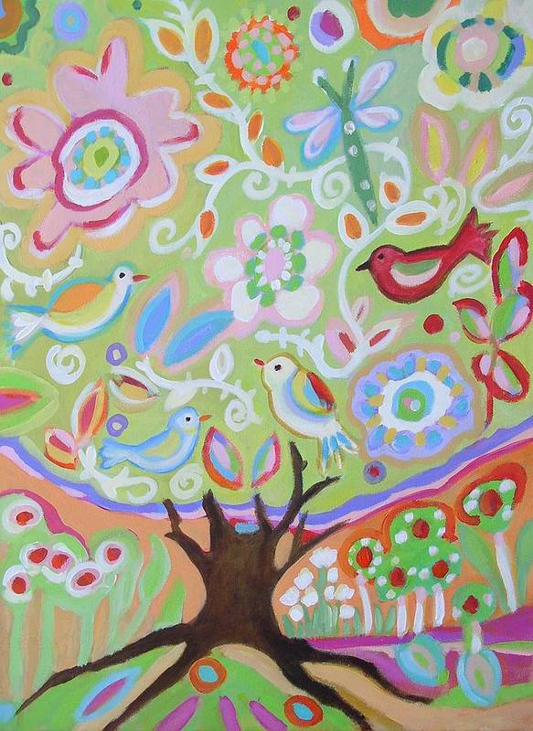 Tree Art Print featuring the painting Tree Of Life With Dragonfly by Karen Fields