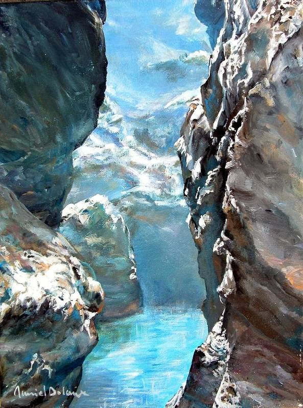 Landscape Art Print featuring the painting Trouee 3 by Muriel Dolemieux