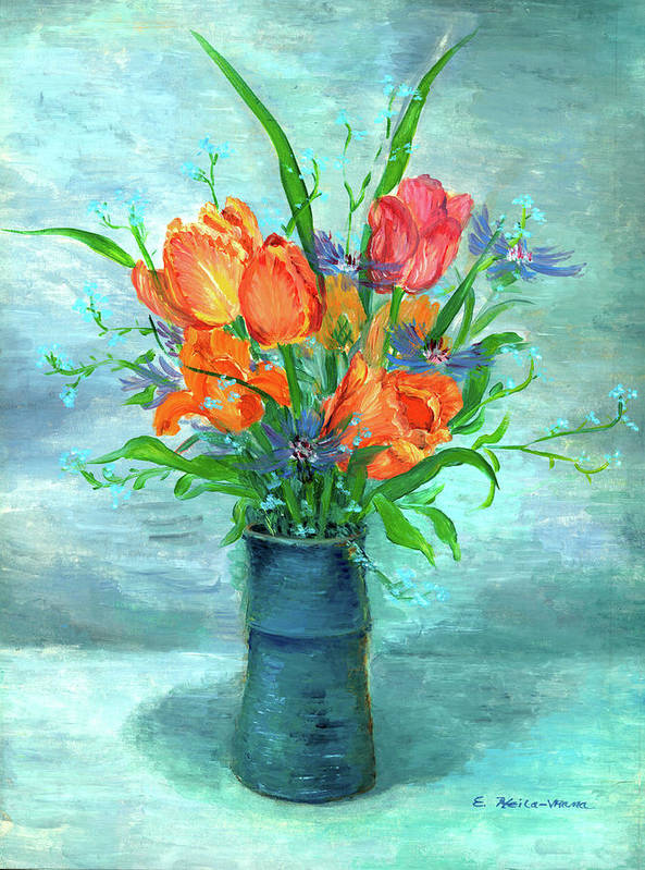 Tulips. Flowers Art Print featuring the painting Tulips In Bluevase by Ethel Vrana