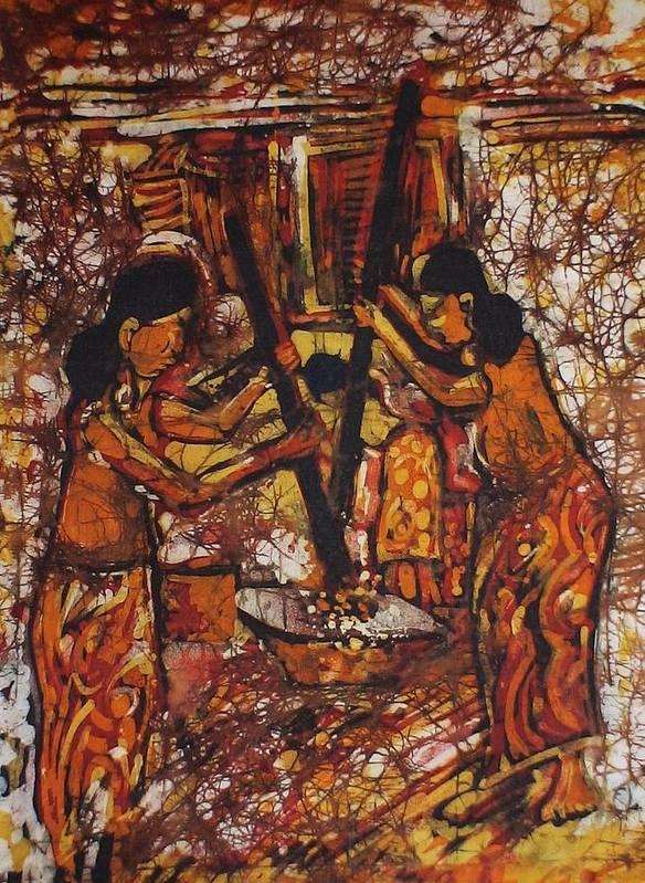 Iban Art Print featuring the painting Tumbuk Padi by Nicholas Lim