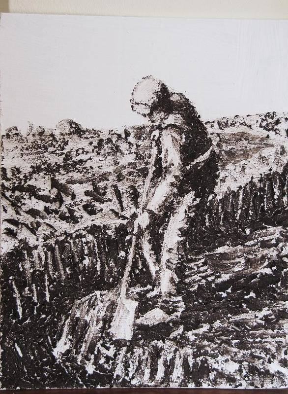 Irish Peat Natural Turf Cutter Portrait Ireland Handmade Ireland Bog Galway Old Style Art Print featuring the painting Turf Cutter 1 by Martin Mc Cormack