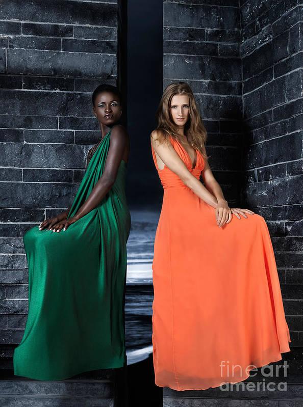 Women Art Print featuring the photograph Two Beautiful Women In Elegant Long Dresses by Oleksiy Maksymenko