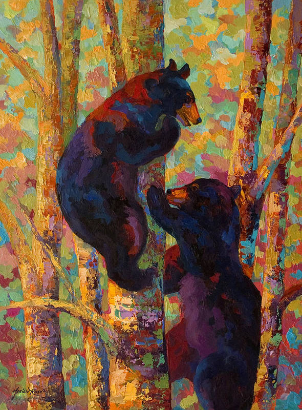 Bear Art Print featuring the painting Two High - Black Bear Cubs by Marion Rose