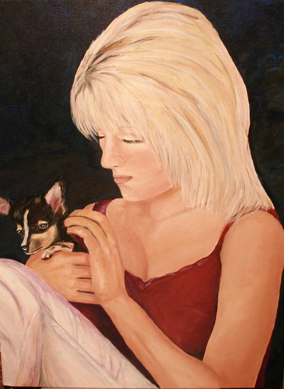 Portrait Pet Dog Blonde Woman Love Chihuahua Art Print featuring the painting Unconditional Love by Dyanne Parker