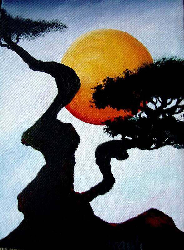 Landscape Art Print featuring the painting Under The Moon by Glory Fraulein Wolfe
