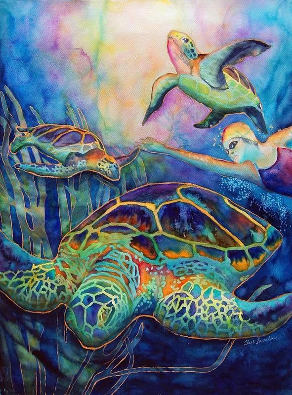 Animal Art Print featuring the painting Undersea Adventure by Gail Zavala