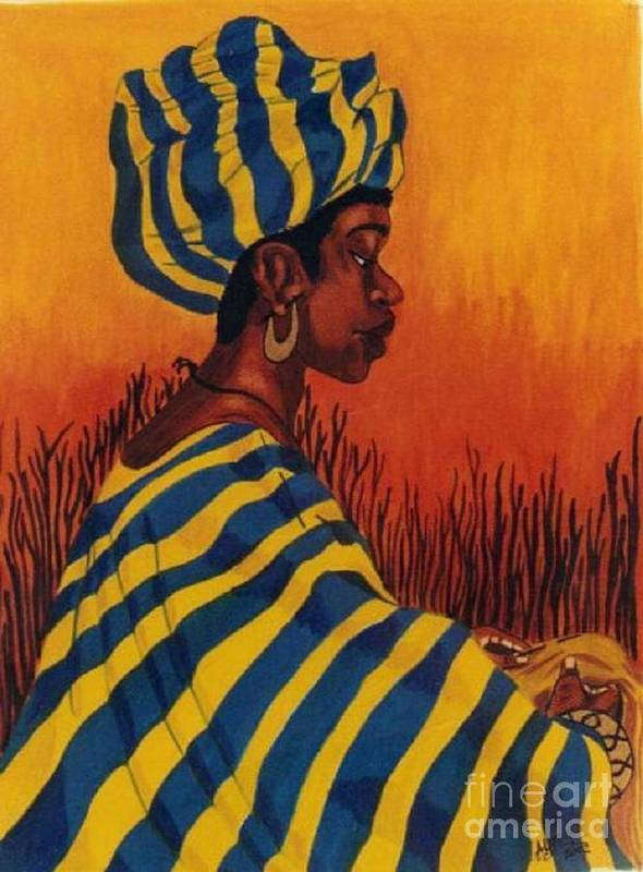 African Woman Art Print featuring the drawing Untitled by Alma Lee -A Lee- Smith