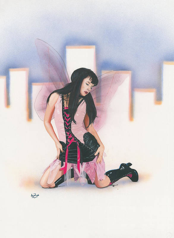Fantasy Art Print featuring the painting Urban Pixie by Kevin Clark