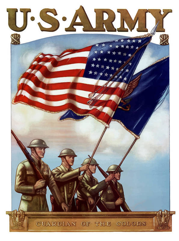 Us Army Art Print featuring the painting Us Army -- Guardian Of The Colors by War Is Hell Store