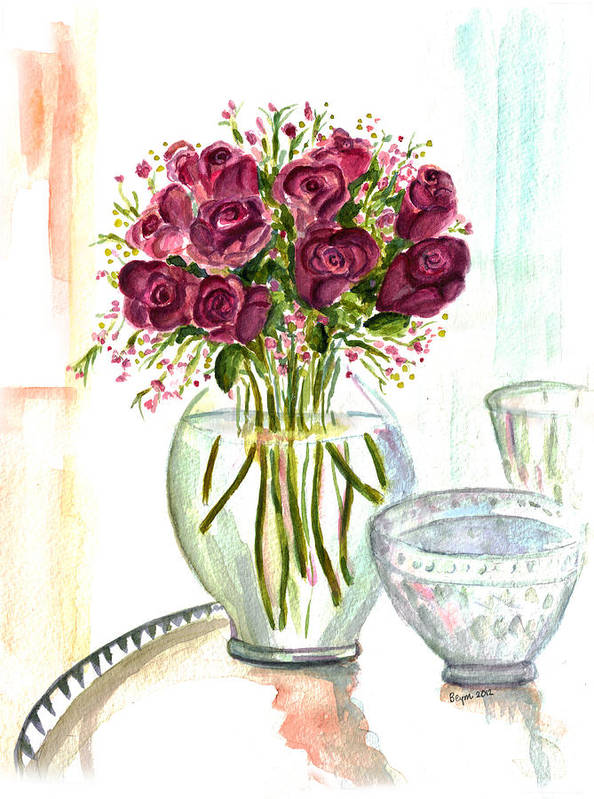 Roses Art Print featuring the painting Valentines Crystal Rose by Clara Sue Beym