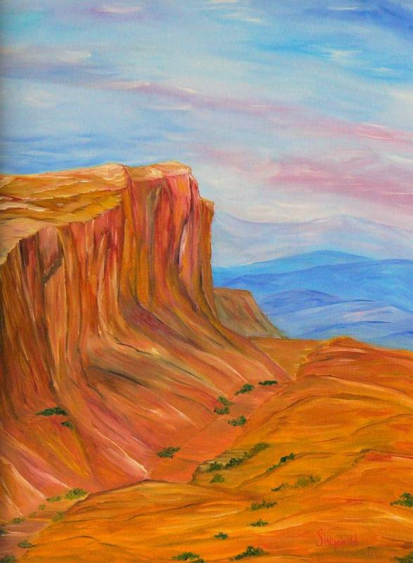 Southwest Art Print featuring the painting Valley Of Fire by Cary Singewald