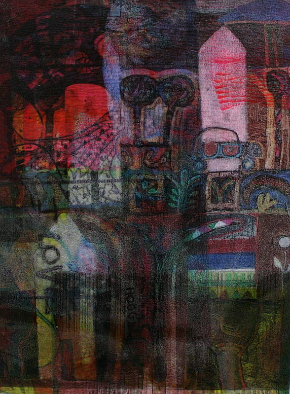 Abstract Art Print featuring the mixed media Veil Of India by Lois Hogg