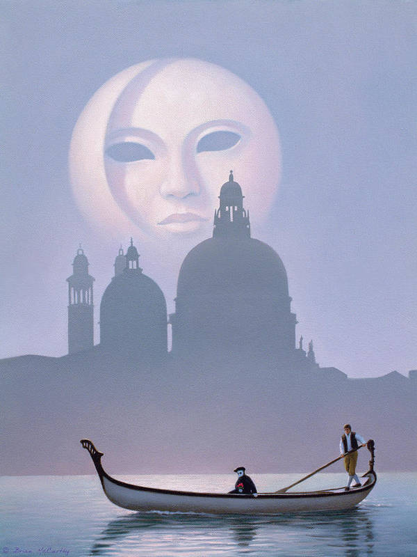 Venice Art Print featuring the painting Venetian Moon by Brian McCarthy