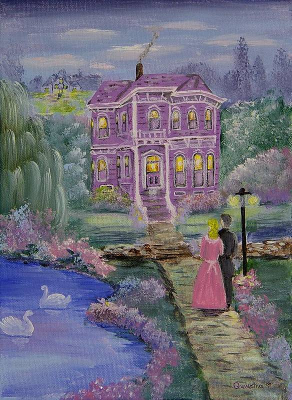 Victorian Art Print featuring the painting Victorian Romance 1 by Quwatha Valentine