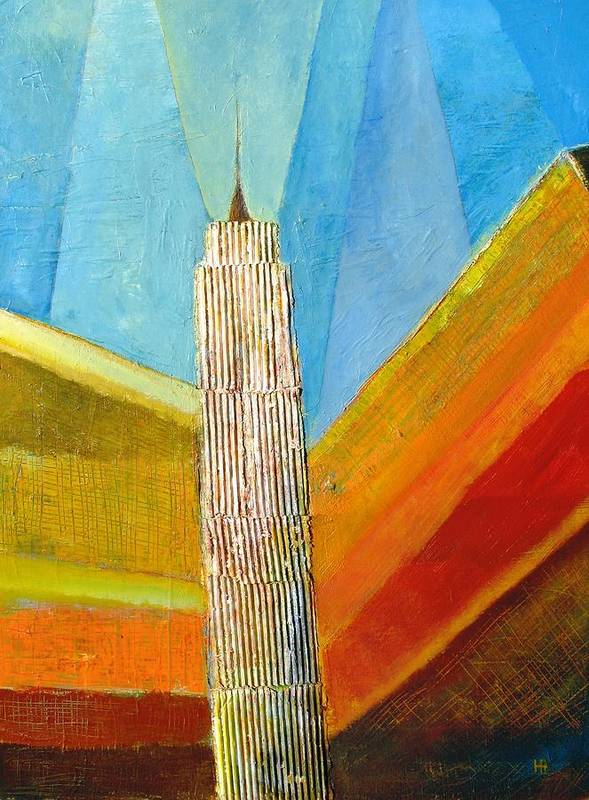Abstract Cityscape Art Print featuring the painting View From 34th St by Habib Ayat