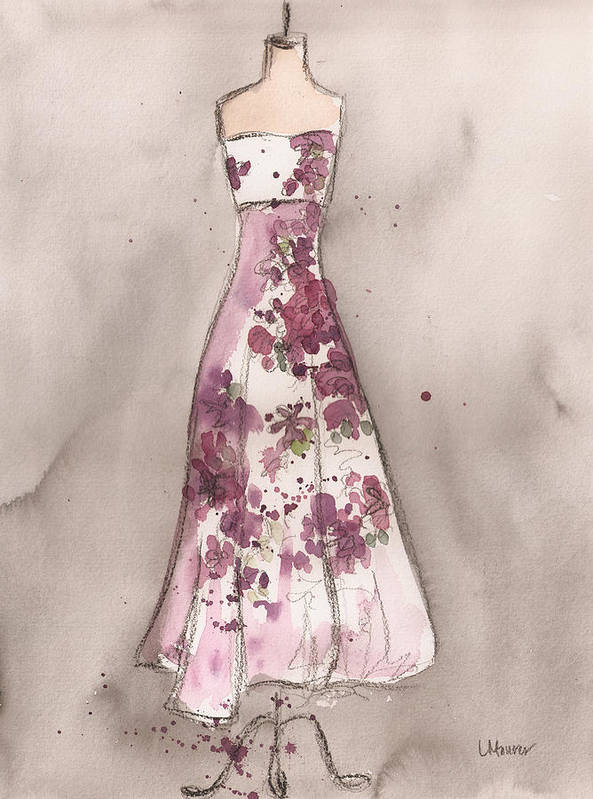 Vintage Dress Print featuring the painting Vintage Romance Dress by Lauren Maurer