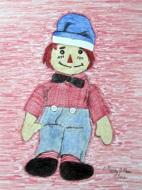 Vintage Art Print featuring the painting Vintage Volland Raggedy Andy Cloth Doll by Kathy Marrs Chandler