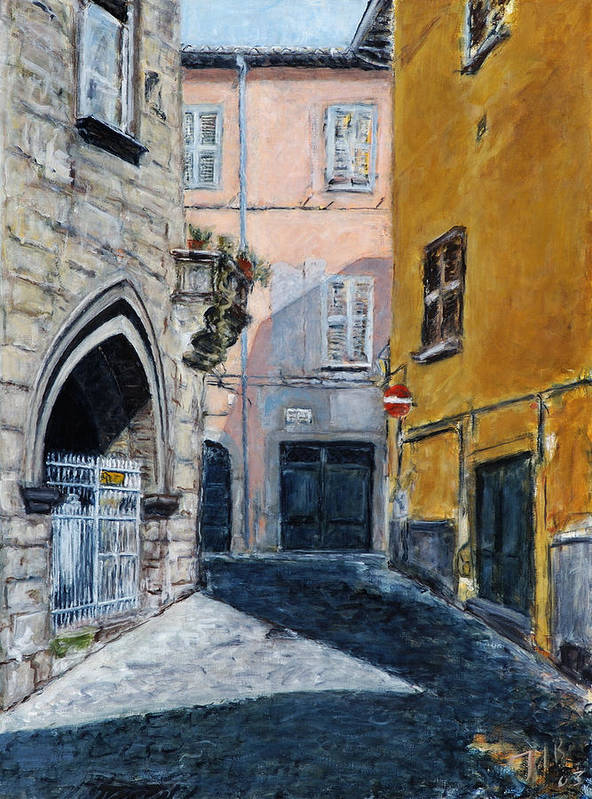 Italy Town Ochre Wall Church Shadow Balcony Pink Indigo Art Print featuring the painting Viterbo Church by Joan De Bot