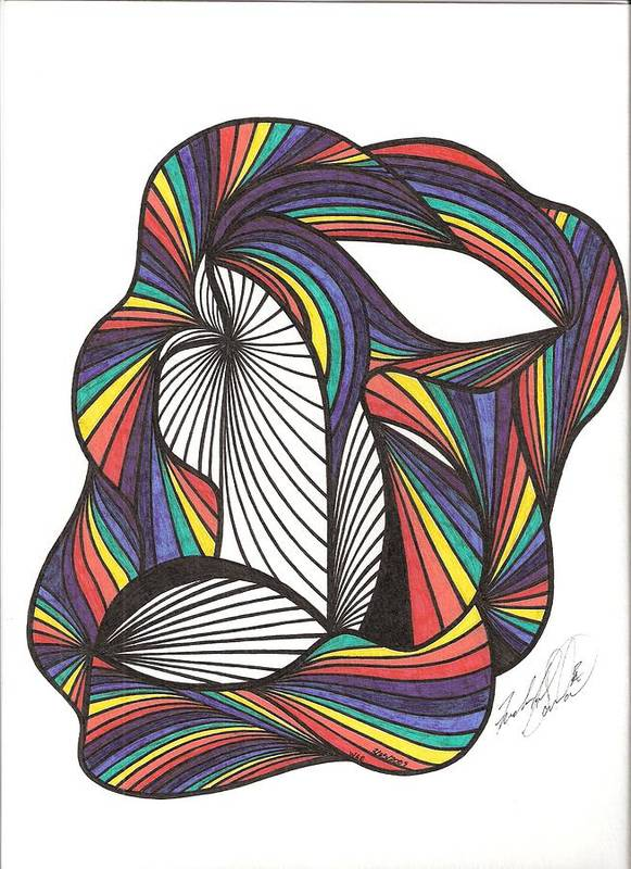 Abstract Art Print featuring the drawing WAE by Freda Garland