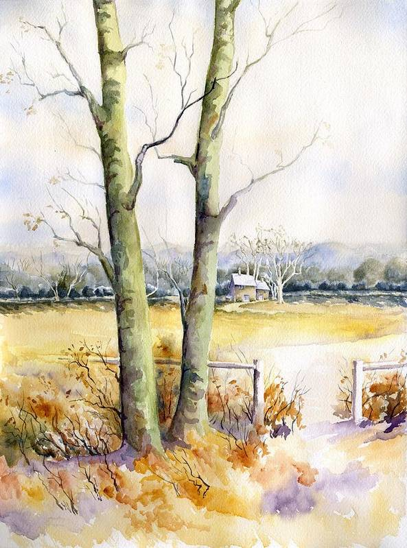 Watercolor Painting Art Print featuring the painting Wagner's Farm by Karla Beatty