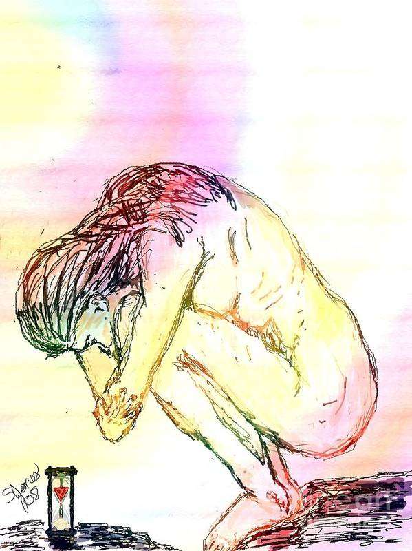 Lady Art Print featuring the digital art Waiting For The Wounds To Heal by Shelley Jones