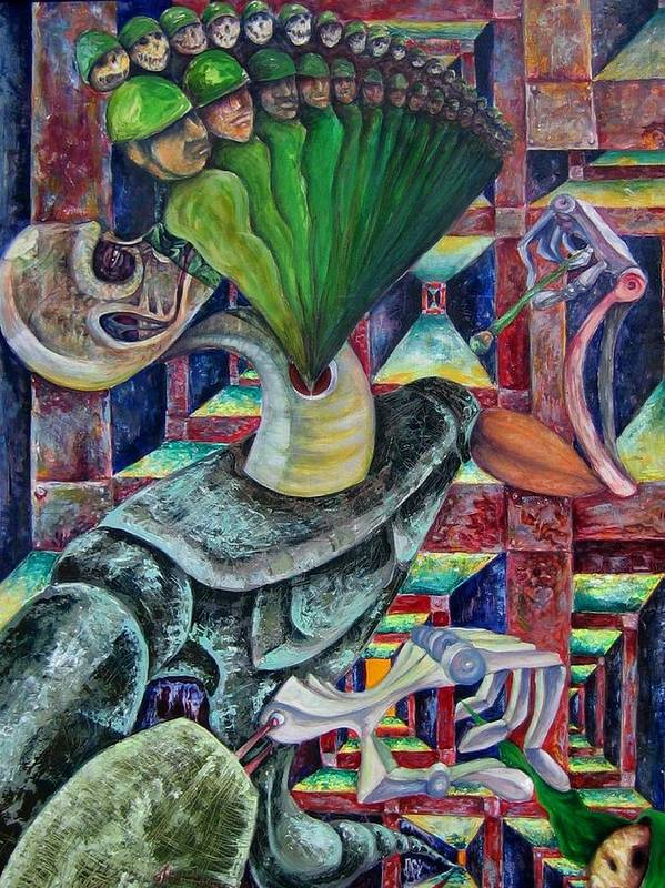 Painting Paintings Art Print featuring the painting War Hunger by Horacio Montes