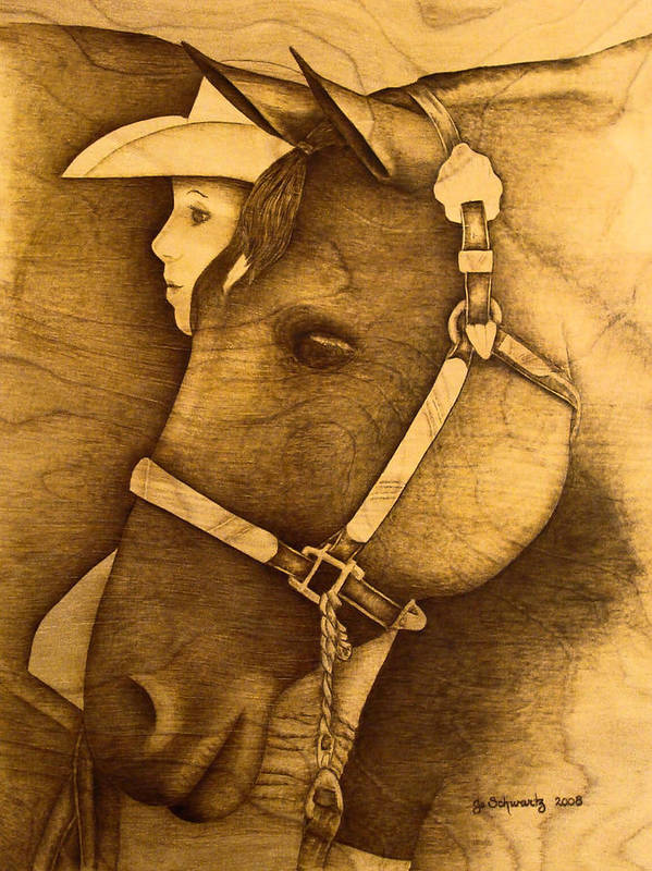 Pyrography;wood Burning; Horse; Western; Halter;cowboy; Hat; Rodeo; Art Print featuring the pyrography Watching The Competition by Jo Schwartz