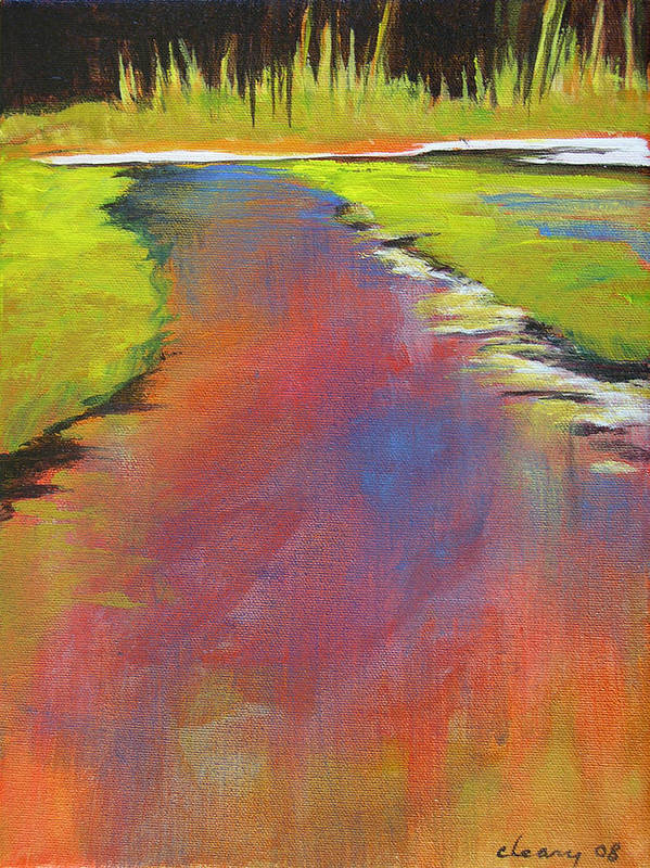 Landscape Art Print featuring the painting Water Garden Landscape 6 by Melody Cleary