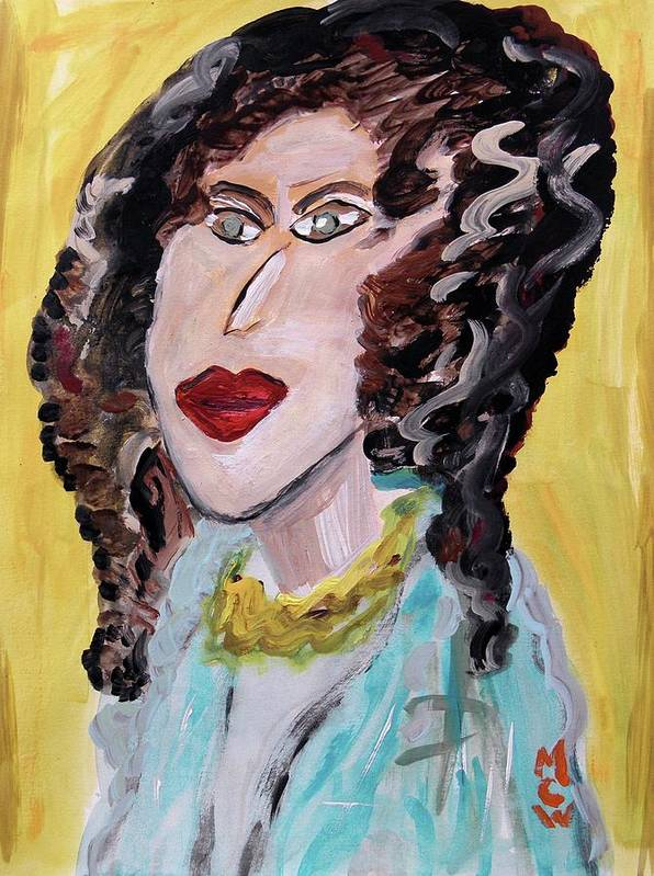 Girl Art Print featuring the painting Waves And Green Eyes by Mary Carol Williams