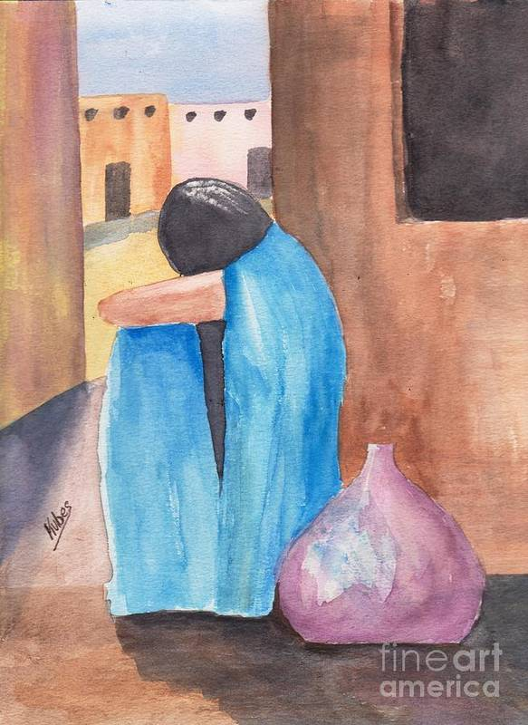Southwest Art Print featuring the painting Weeping Woman by Susan Kubes