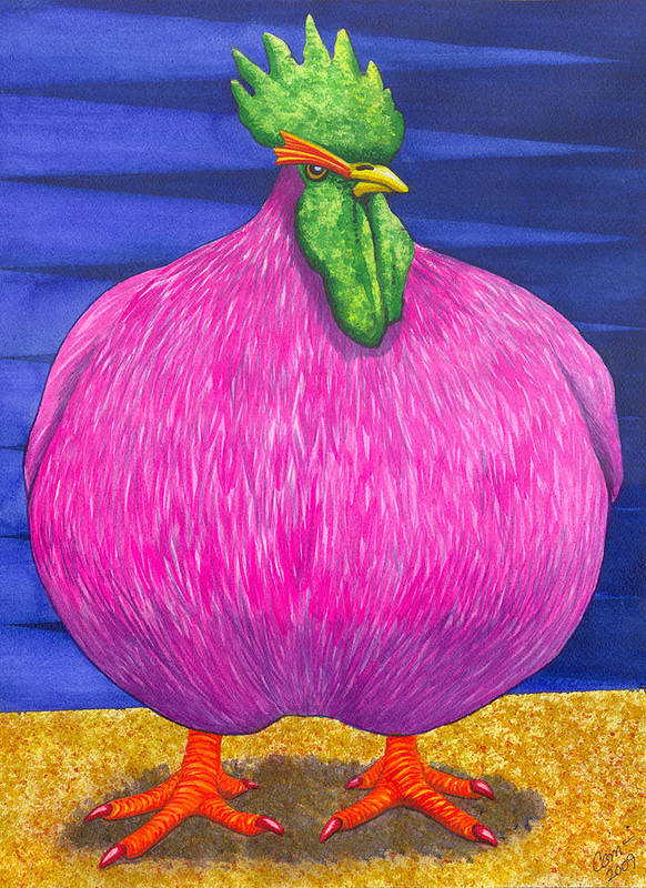 Rooster Art Print featuring the painting What Are You Lookin At by Catherine G McElroy