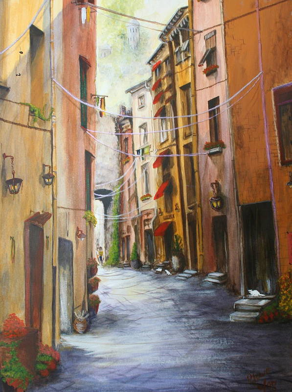 Street Art Print featuring the painting White Cat Lane by Jan Lowe