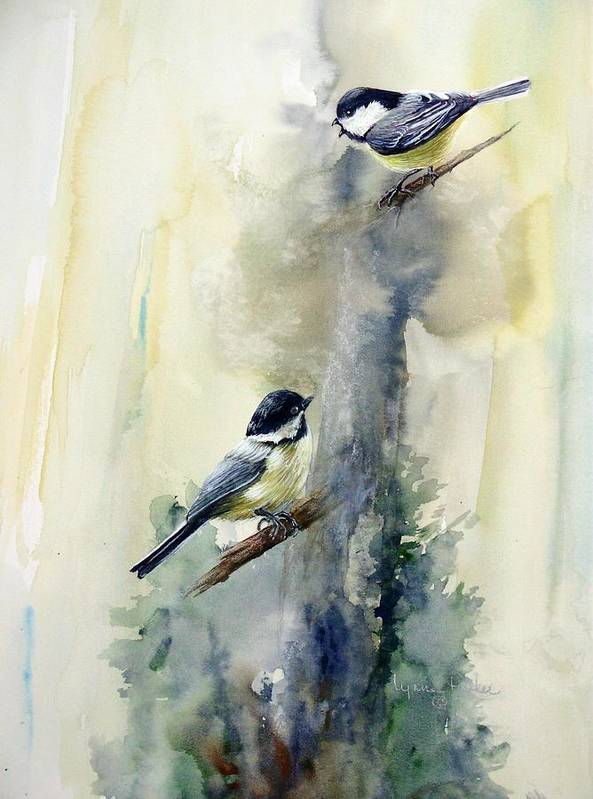 Chickadees Art Print featuring the print Who Says by Lynne Parker