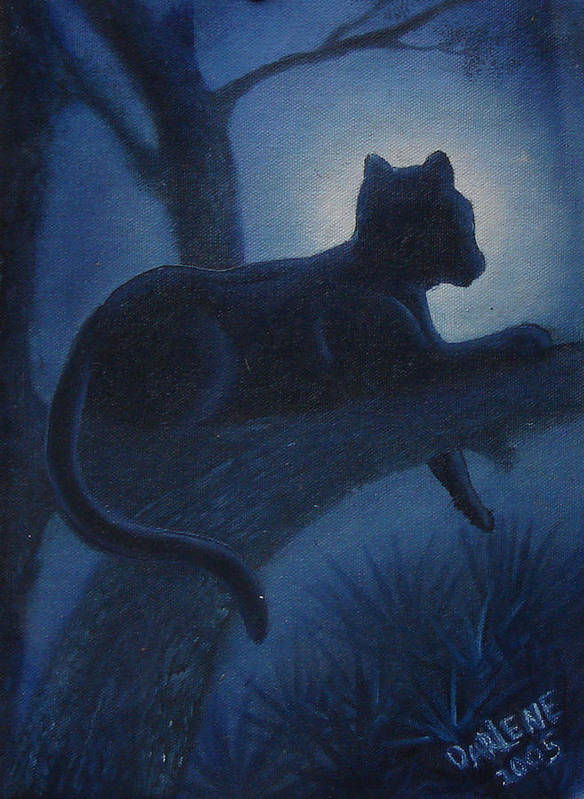 Cougar Art Print featuring the painting Whos Watching Who Cougar by Darlene Green